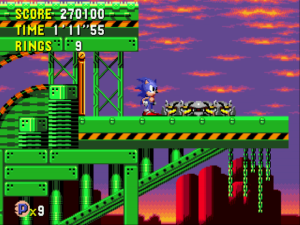 When I was originally critical of the levels al looking the same, I'd yet to discover Wacky Workbench's gorgeous late-evening desert backdrop in the past